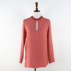 Gucci Peach Beaded Neckline Tunic Style Blouse